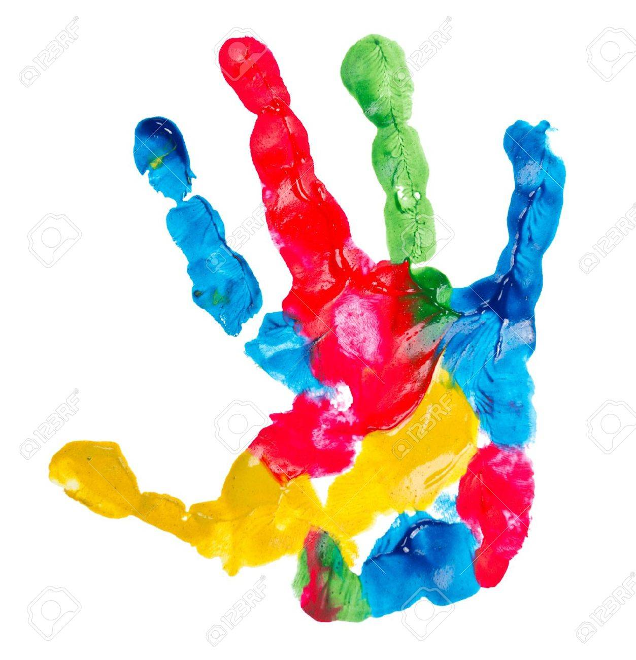 color child hand print isolated on white stock photo 7712629