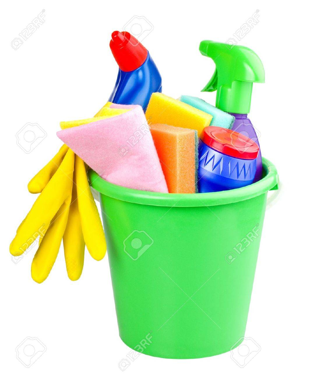 bucket with cleaning articles, isolated on white Stock Photo - 12407521