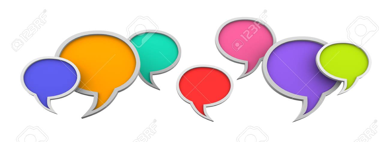 Three dimensional colorful speech bubbles on white background Stock Photo - 14591404