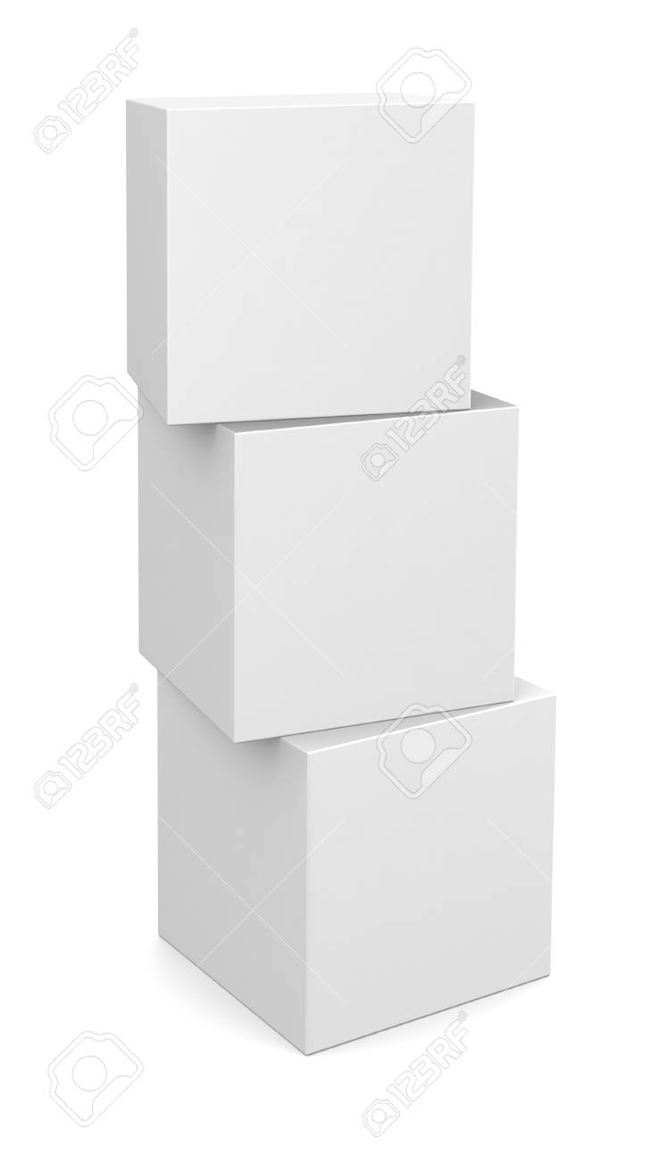 Three 3D cubes isolated on white Stock Photo - 18230515