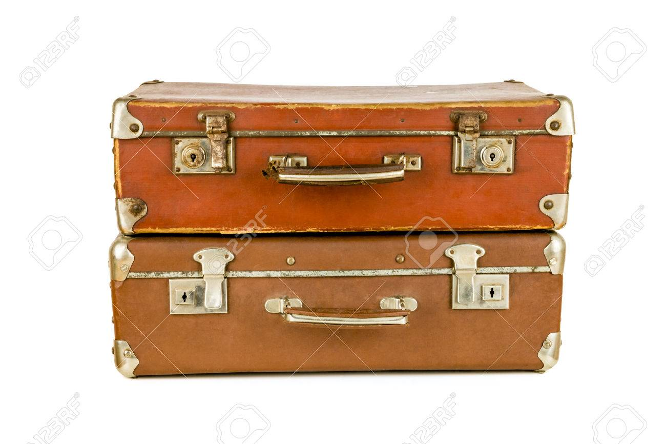 set of old suitcases brown retro suitcase vintage baggage stock