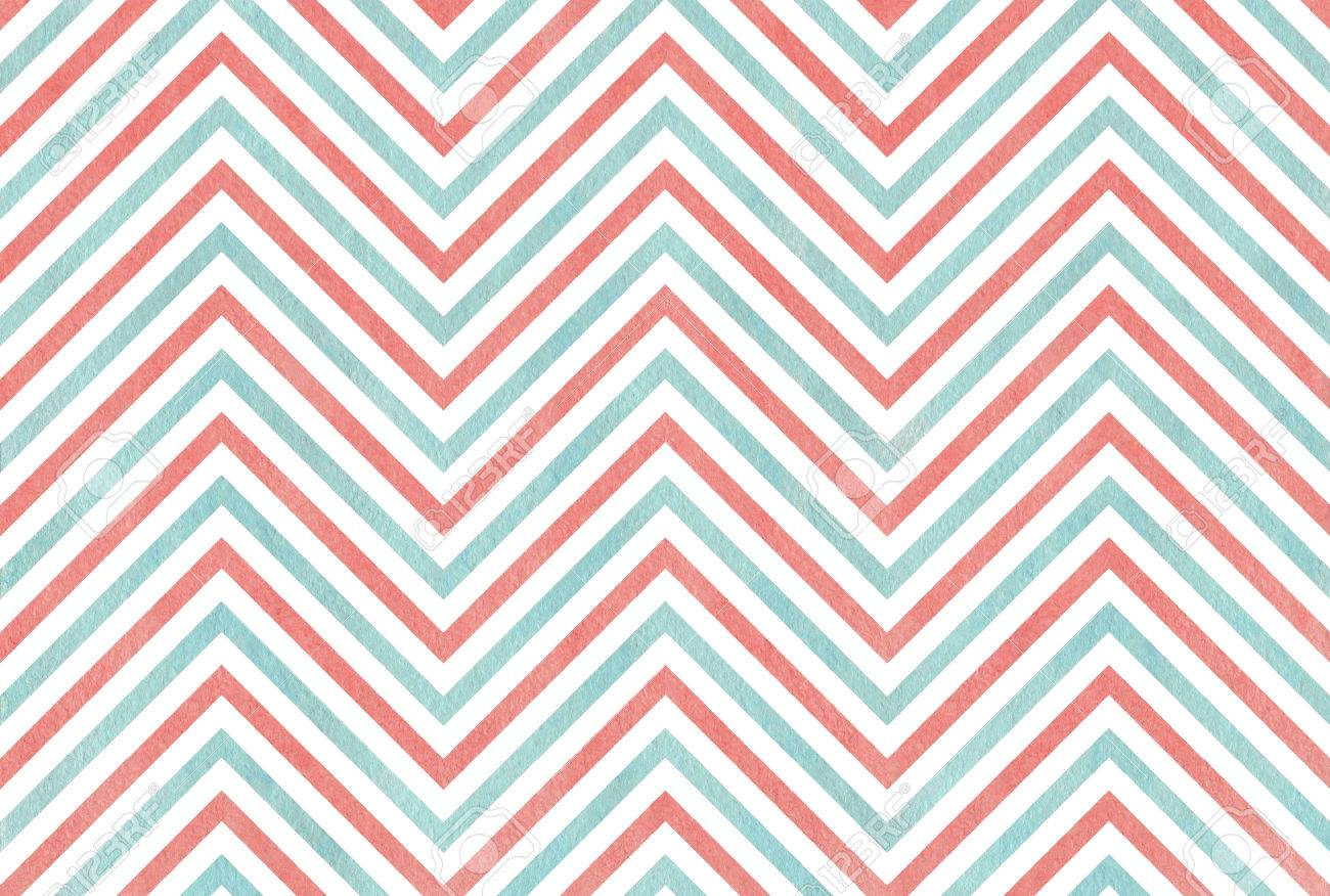 Watercolor coral pink and blue stripes background, chevron