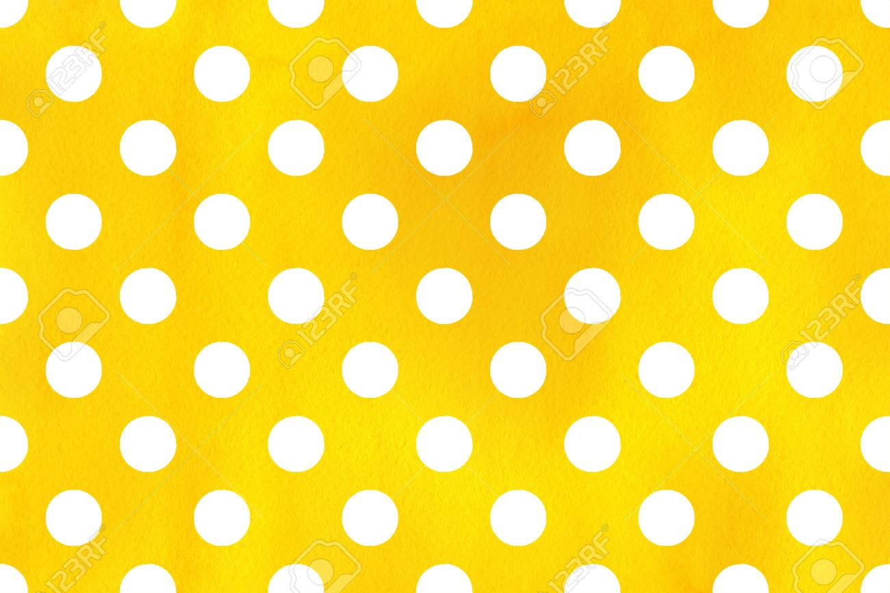 stock photo watercolor yellow polka dot background pattern with white polka dots for scrapbooks wedding party or baby shower invitations