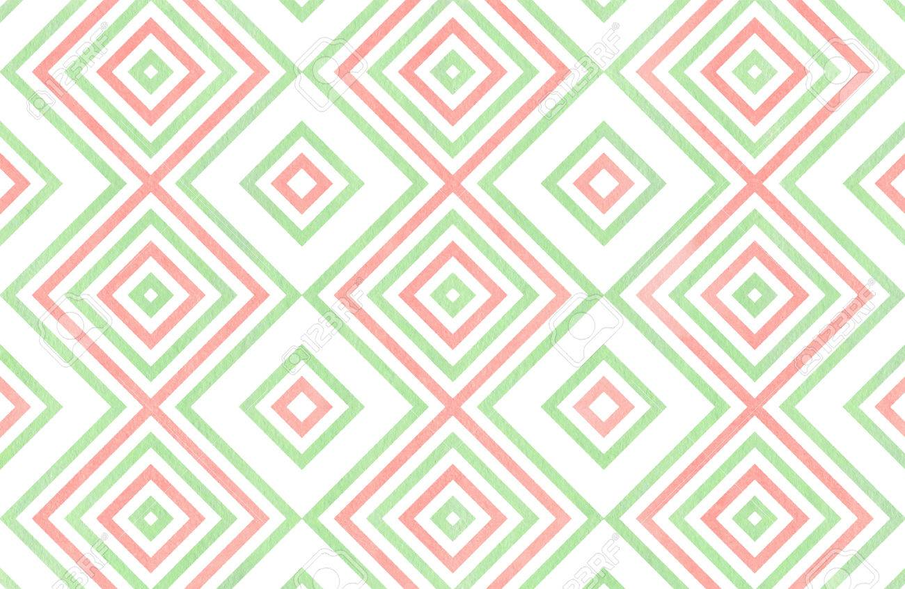 stock photo watercolor geometrical pattern in light pink and mint green colors for fashion textile cloth backgrounds