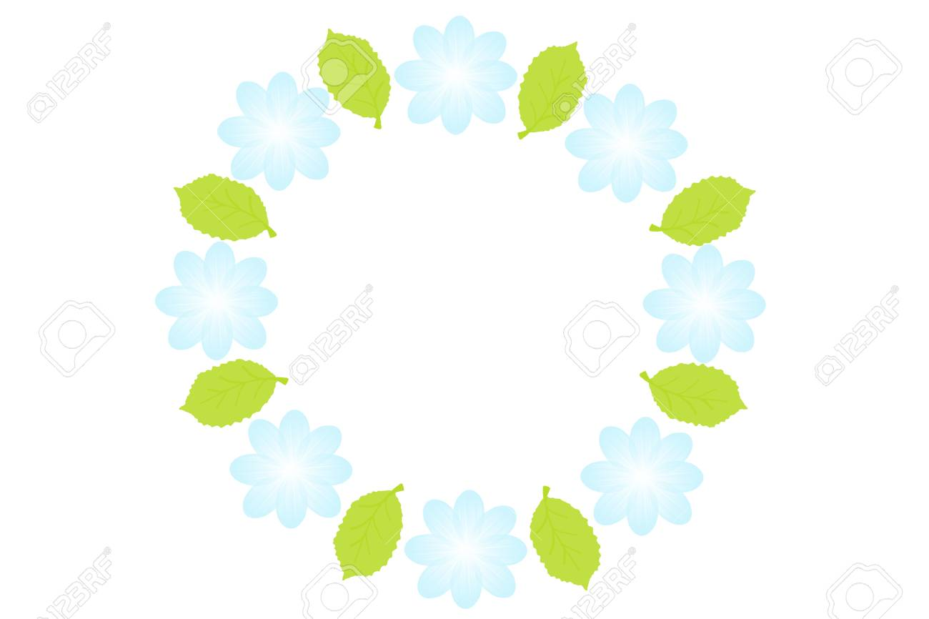 La Línea Flores Del Bígaro En Un Círculo Sobre Fondo Blanco. Marco ...