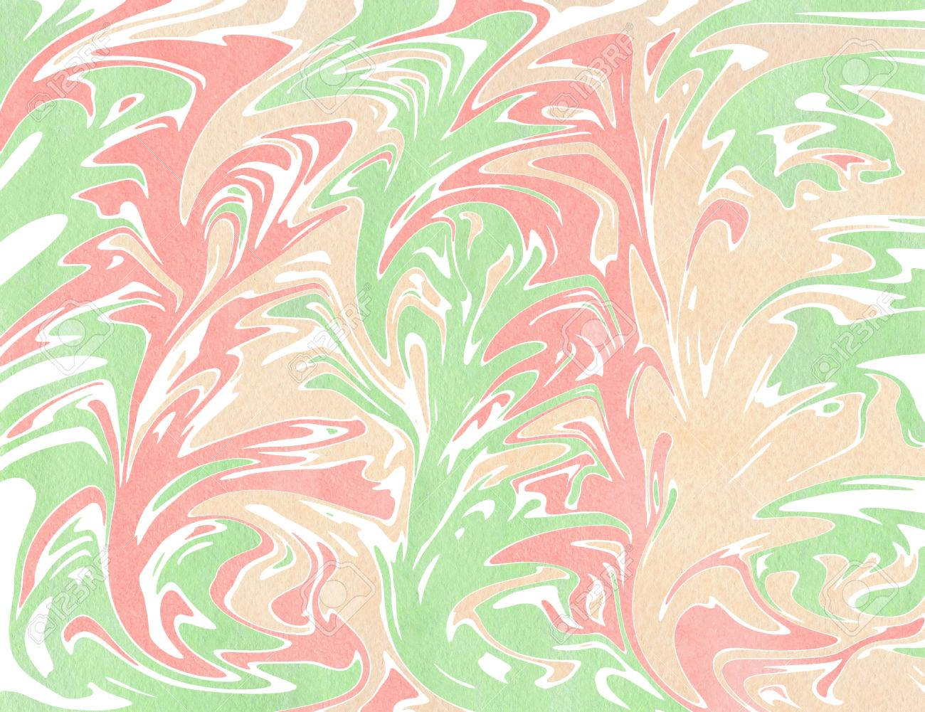 Abstract Light Pink Beige And Mint Green Watercolor Background