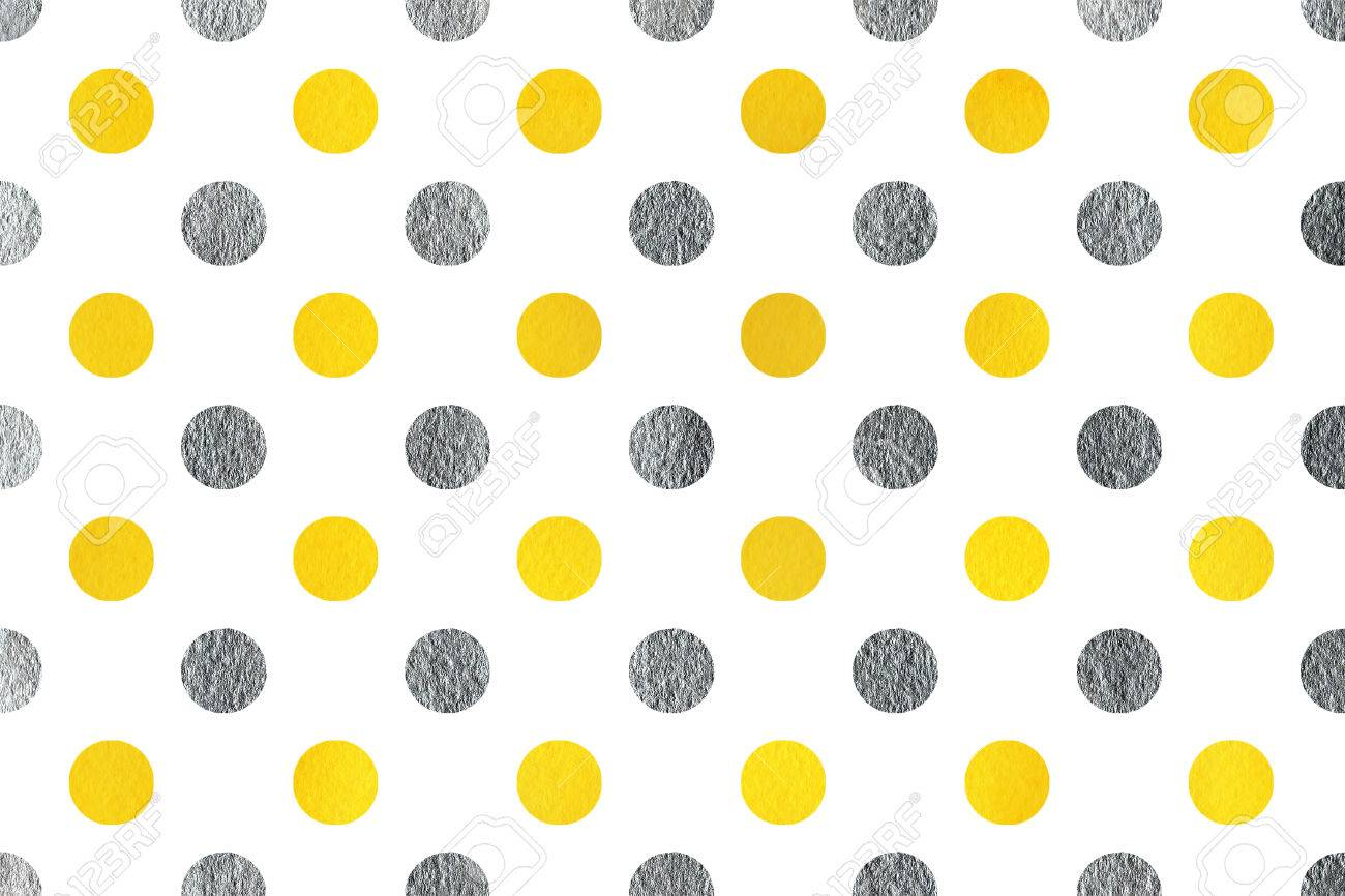 stock photo watercolor yellow and acryl silver polka dot background pattern with polka dots for scrapbooks wedding party or baby shower invitations