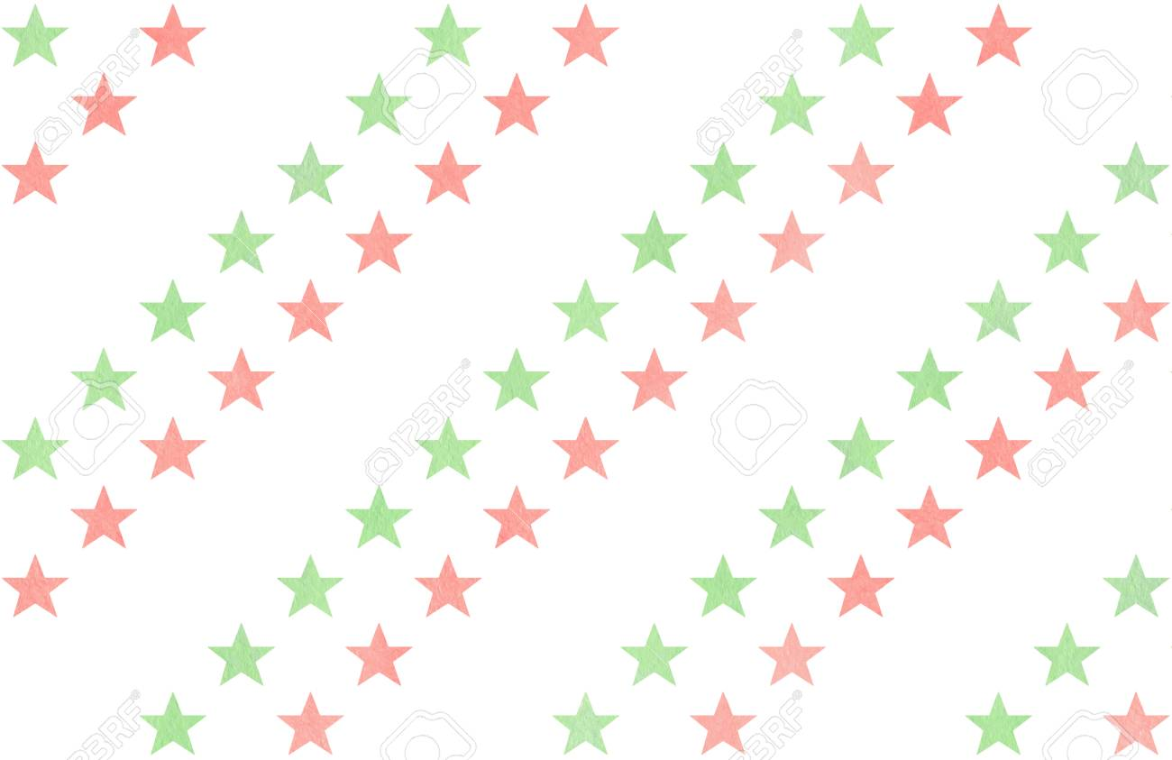 Watercolor Pattern With Light Pink And Mint Green Stars On White