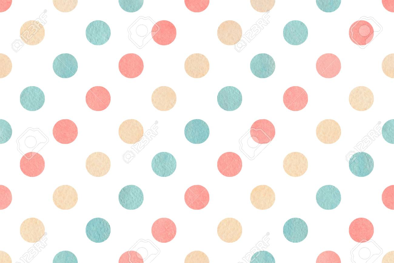 Watercolor Pink Beige And Blue Polka Dot Background Pattern