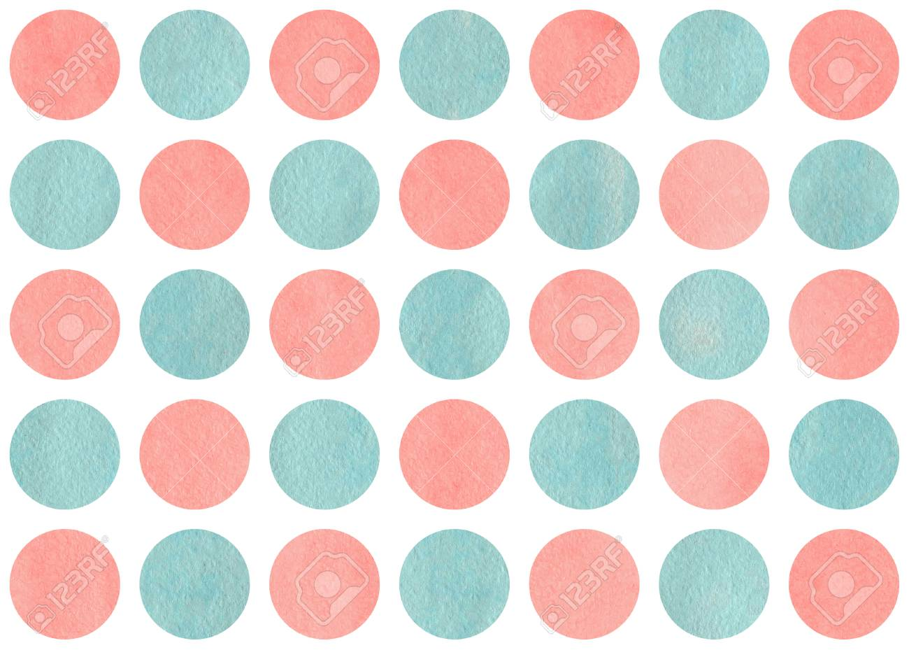 Watercolor Circles In Light Pink And Blue Color Pattern With