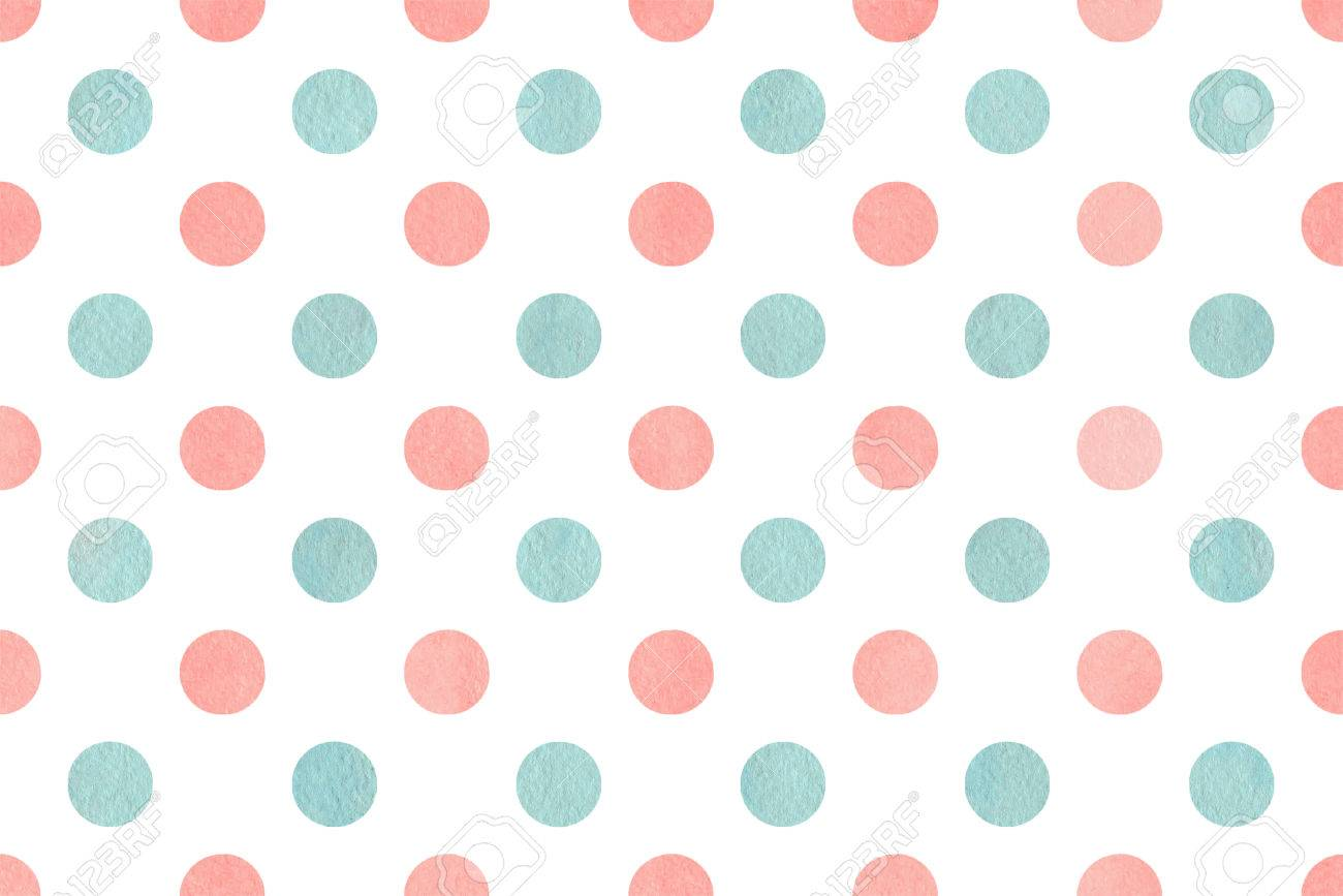 watercolor light pink and blue polka dot background pattern stock