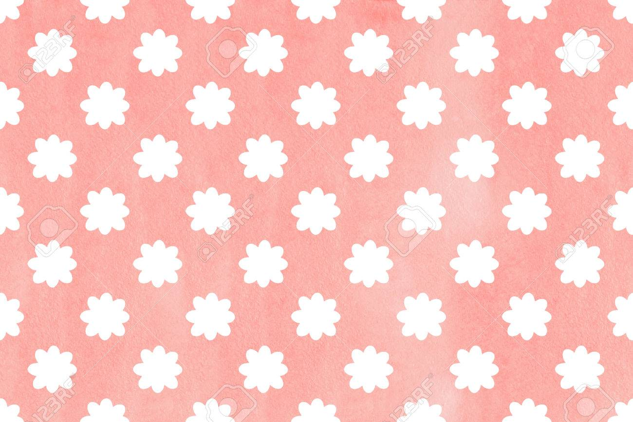 Watercolor Light Pink Flower Pattern White Flowers On Watercolor