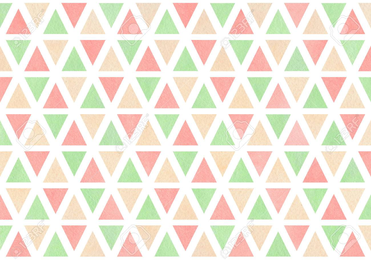 Watercolor Light Pink Beige And Mint Green Triangle Pattern Stock Photo Picture And Royalty Free Image Image 65146087