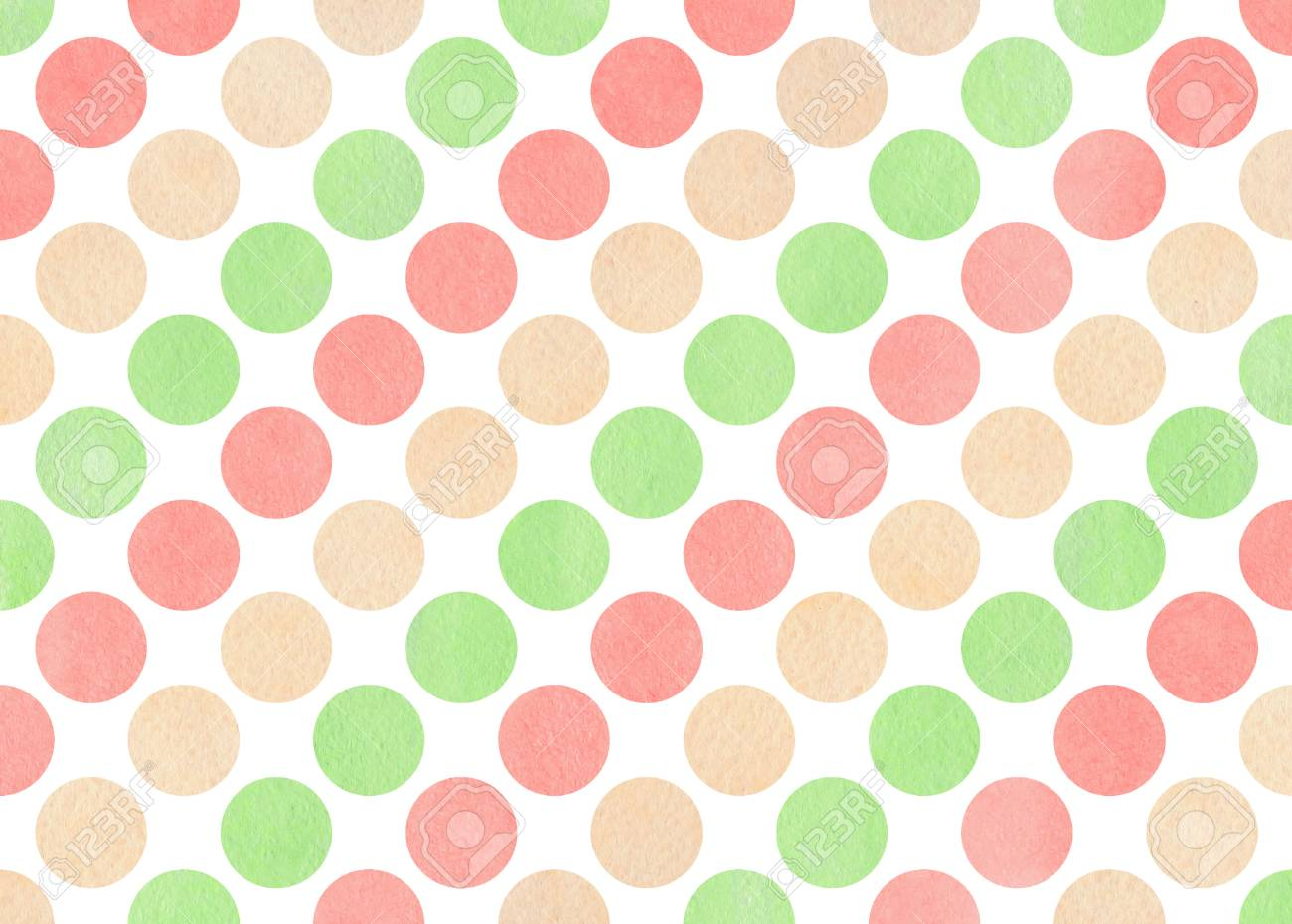 Stock Photo   Watercolor Light Pink, Beige And Mint Green Polka Dot  Background. Pattern With Colorful Polka Dots For Scrapbooks, Wedding, Party  Or Baby ...