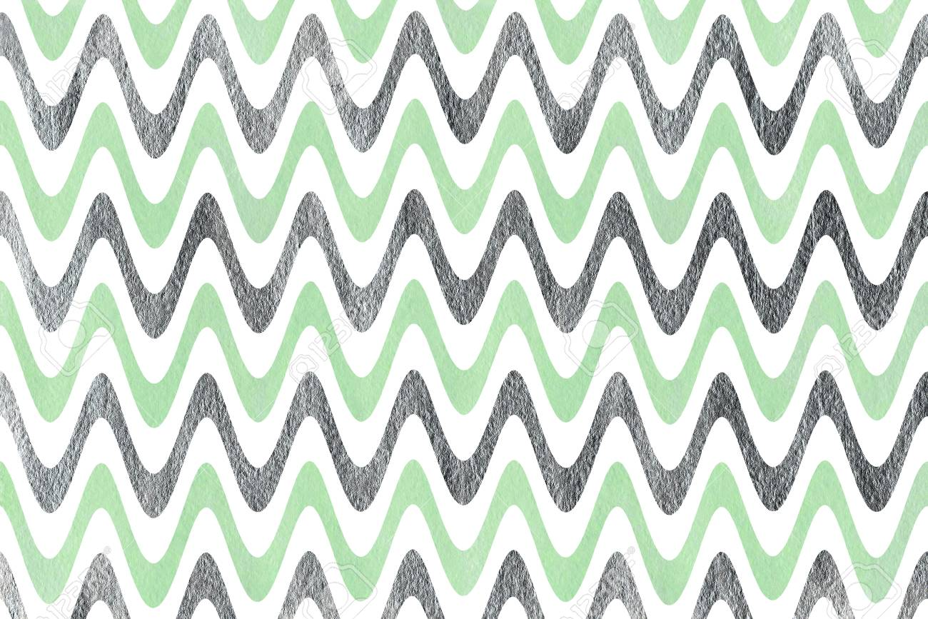 Watercolor mint and acryl silver stripes background, chevron