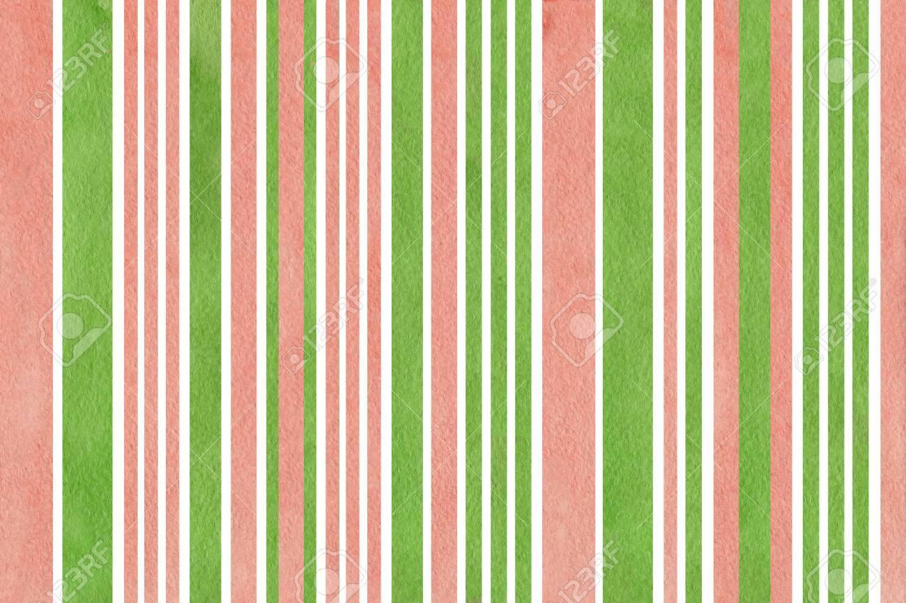 Acquerello Sfondo A Righe Rosa E Verde Priorità Bassa Astratta Dellacquerello Con Strisce Rosa E Verdi
