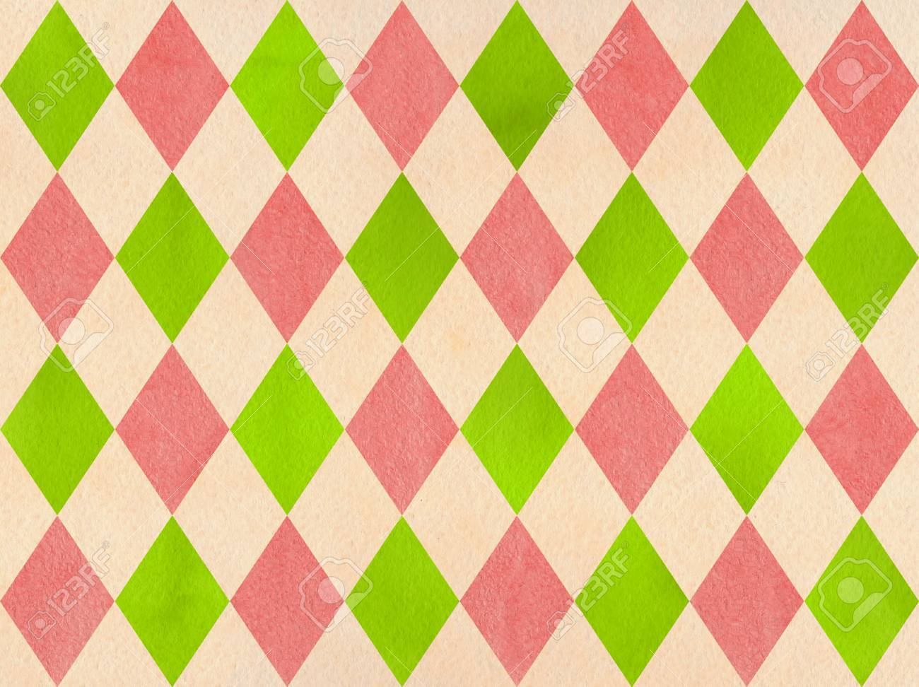 Watercolor Lime Green Coral Pink And Beige Diamond Pattern Stock