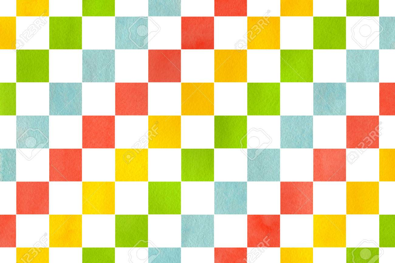 Watercolor Yellow Salmon Pink Lime Green And Blue Square Pattern