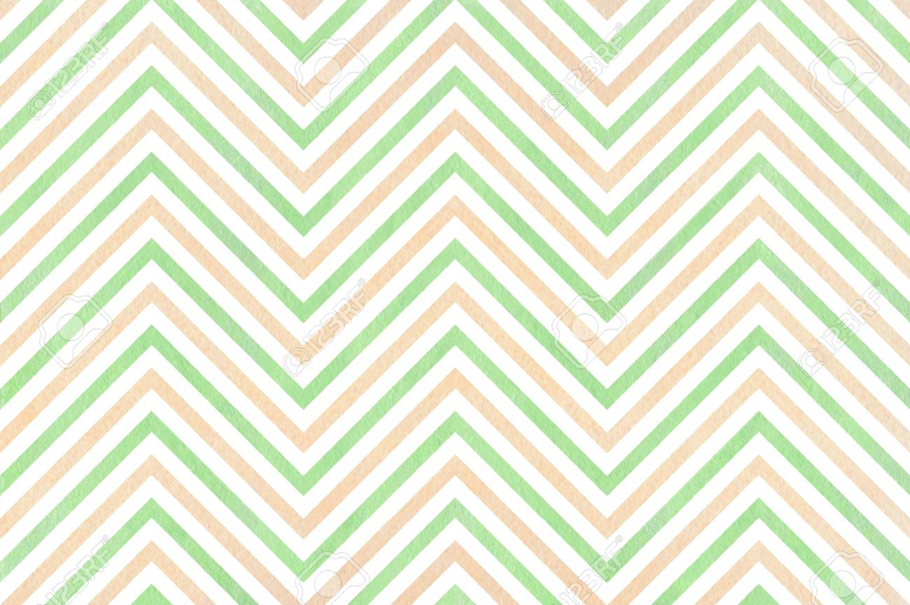 Watercolor mint green and beige stripes background, chevron