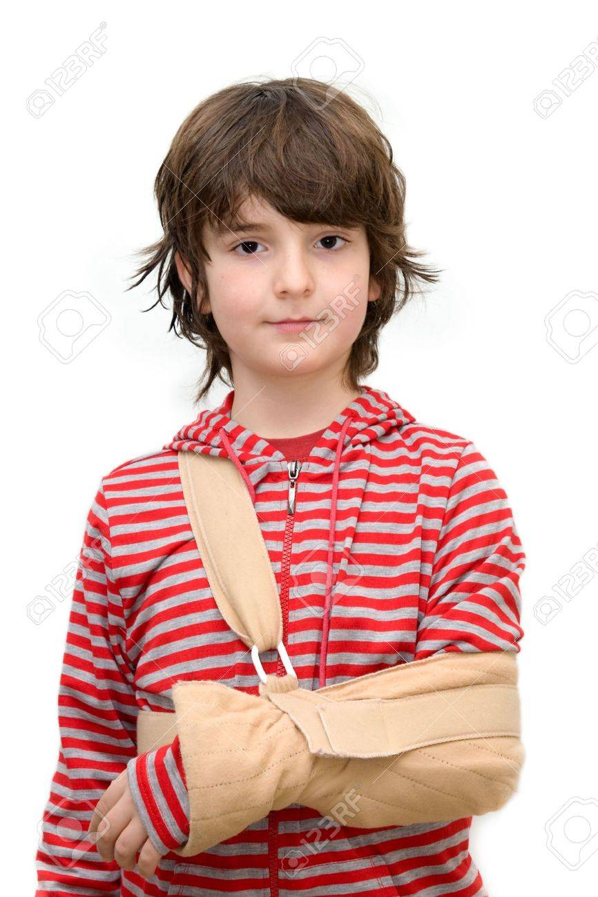 Boy with sling on broken arm isolated on pure white Stock Photo - 6501852