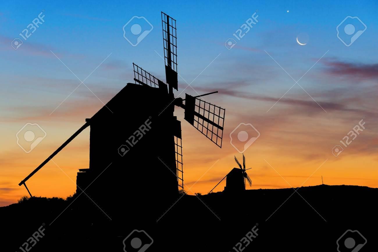 Moon and Venus over Spanish Windmills at dusk Stock Photo - 14003262