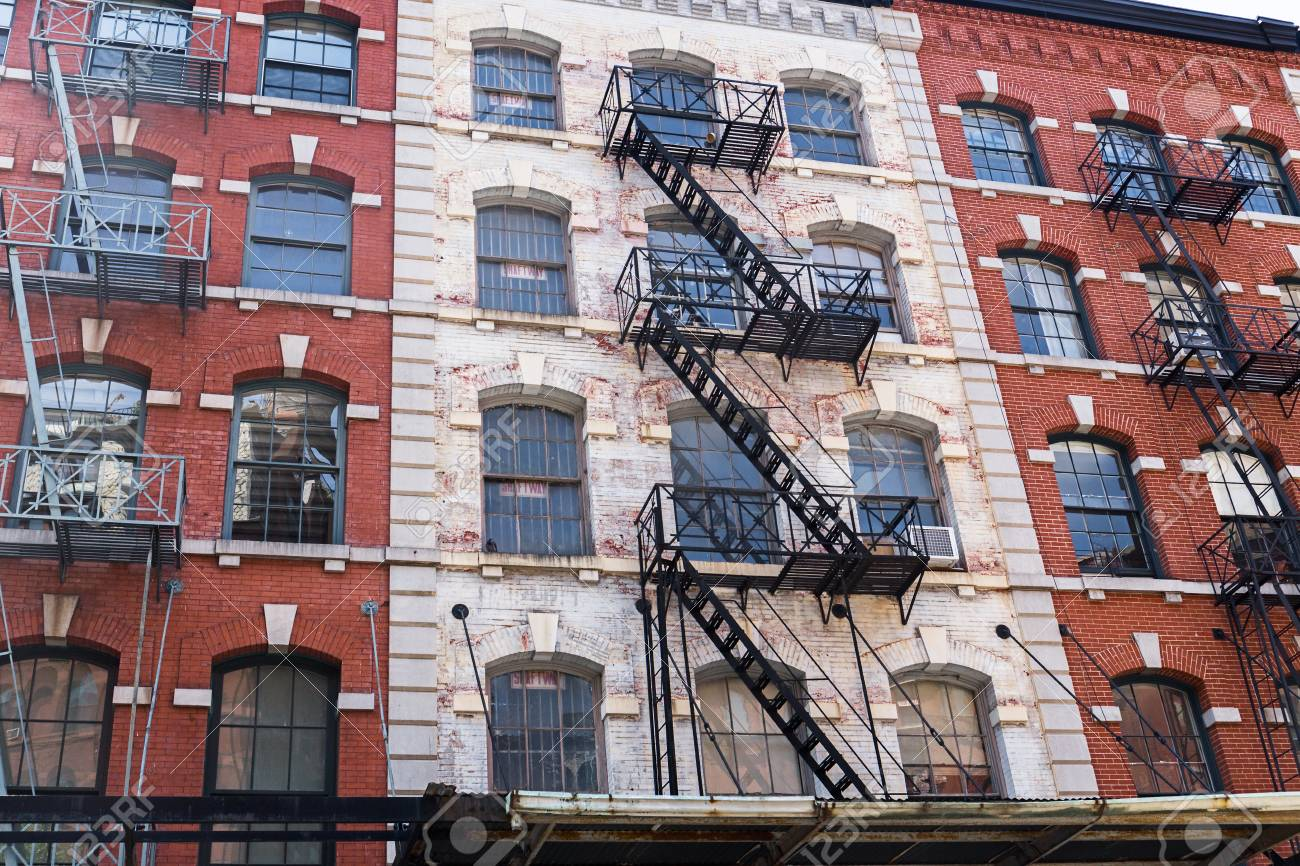 Typical Old Houses With Facade Stairs In TRibeca, NYC, USA Stock Photo    87646997