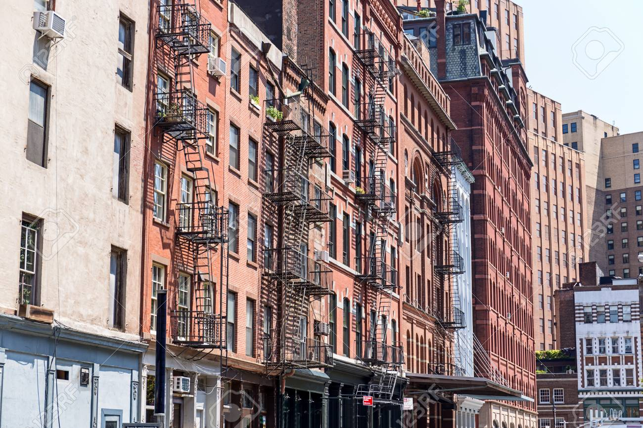 Typical Old Houses With Facade Stairs In TRibeca, NYC, USA Stock Photo    88776971