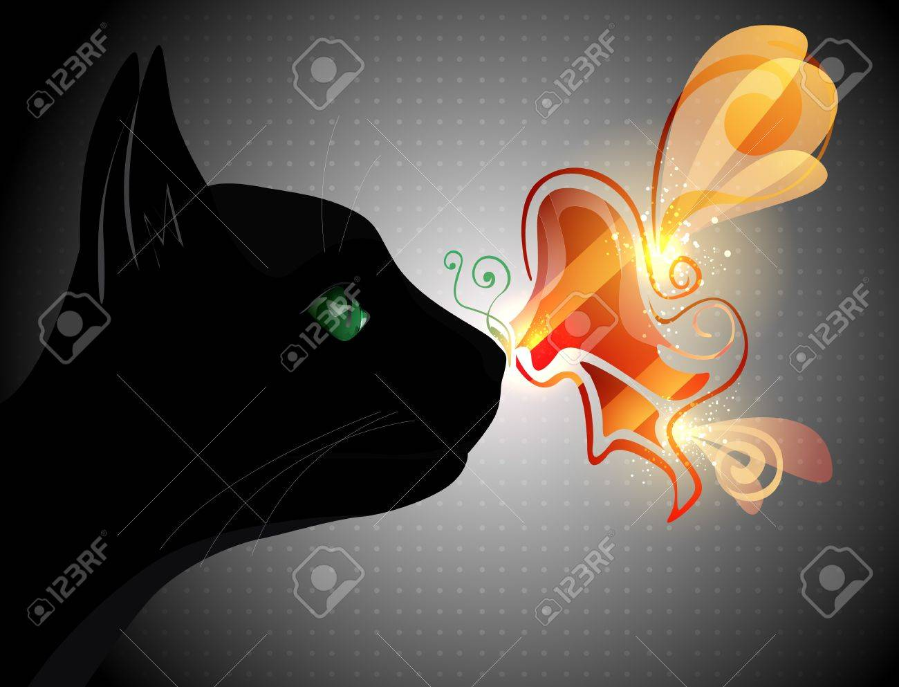 Butterfly on the cat nose Stock Vector - 13497749