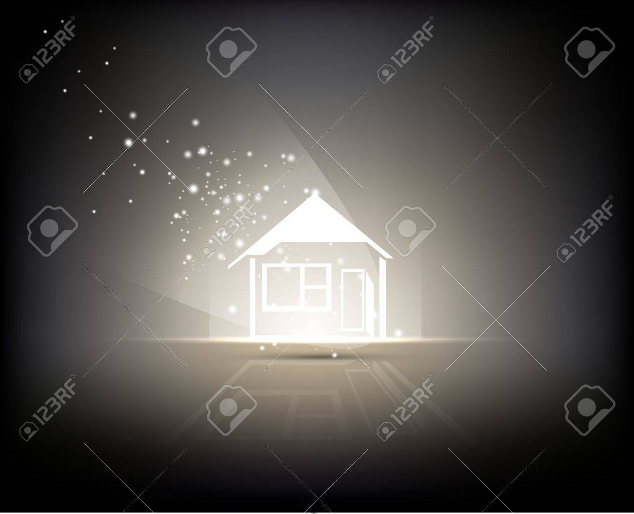 abstract background - sign of home illuminated by light Stock Vector - 13497750