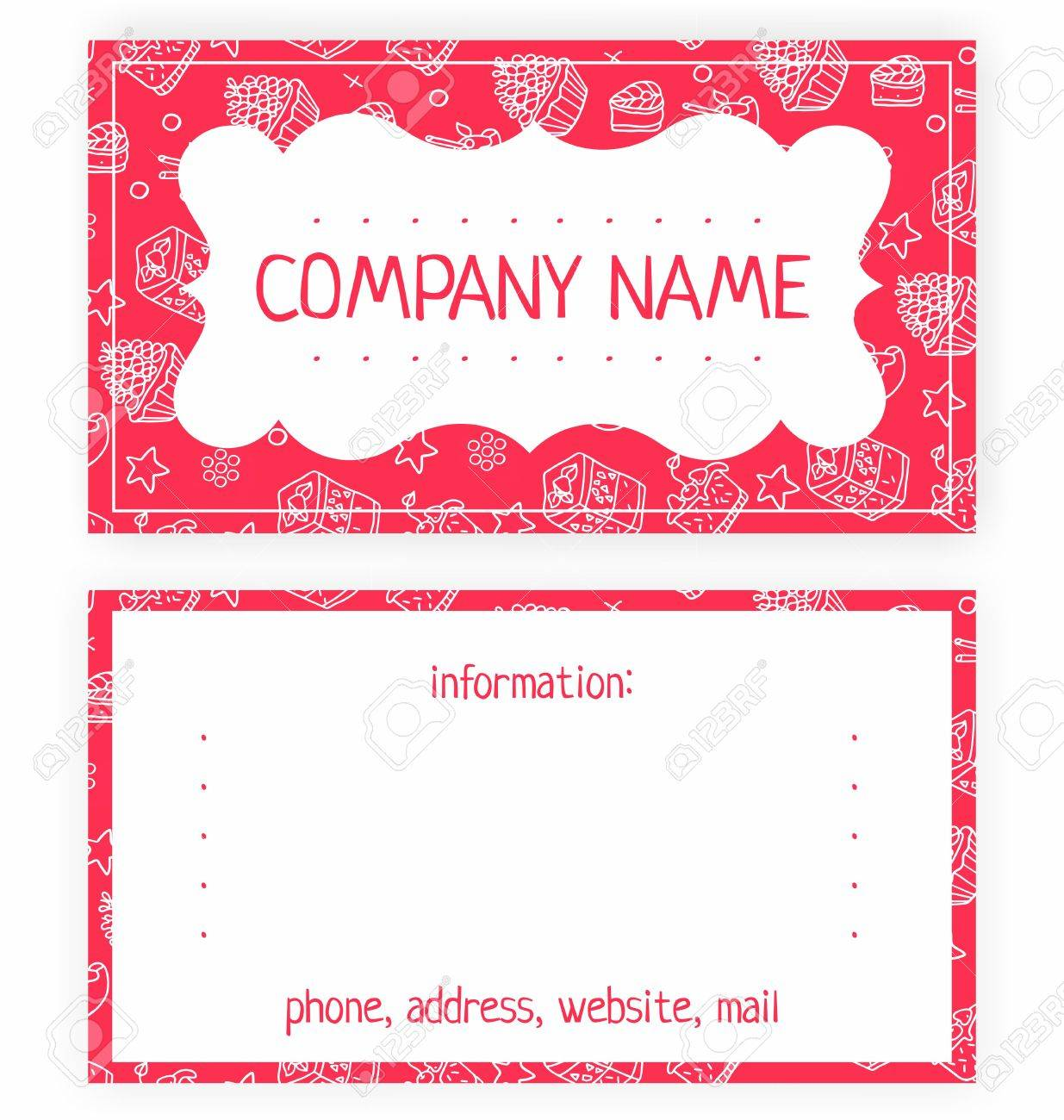 Business Card Of White Cakes On A Pink Background Royalty Free ...