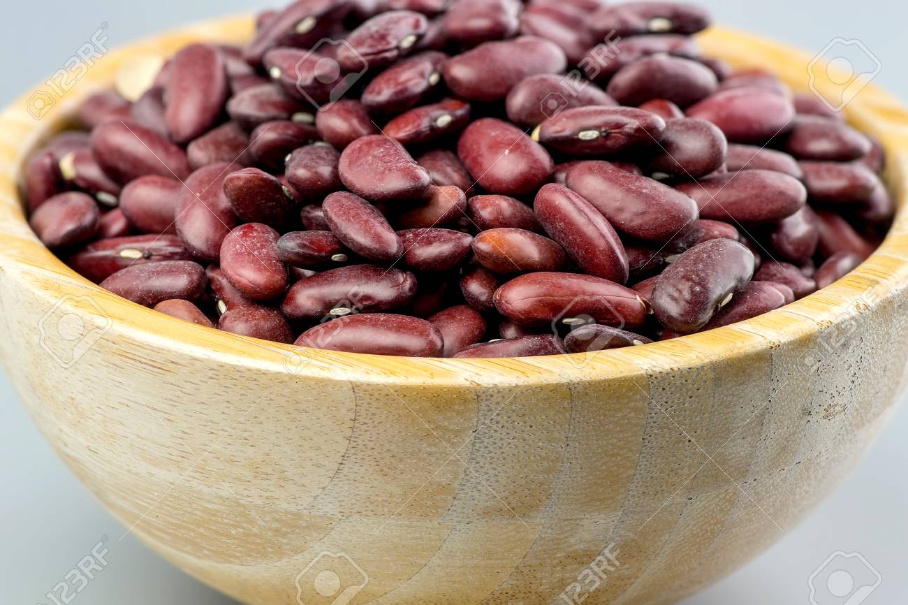 Closeup Raw Kidney Beans In Wooden Bowl Stock Photo Picture And Royalty Free Image Image 91309005