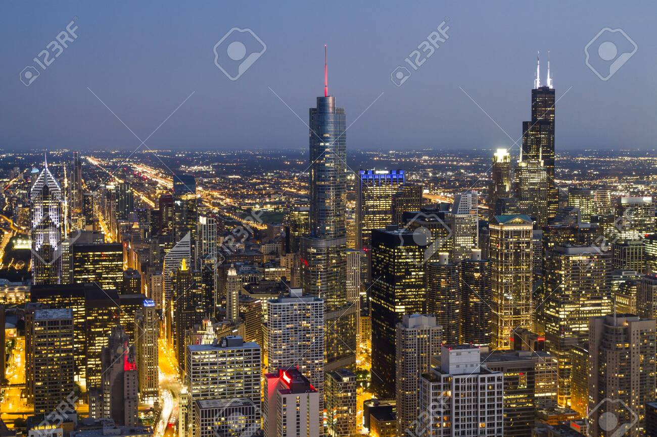 Beautiful aerial view of Chicago skyline at evening, Illinois, USA - 140898831