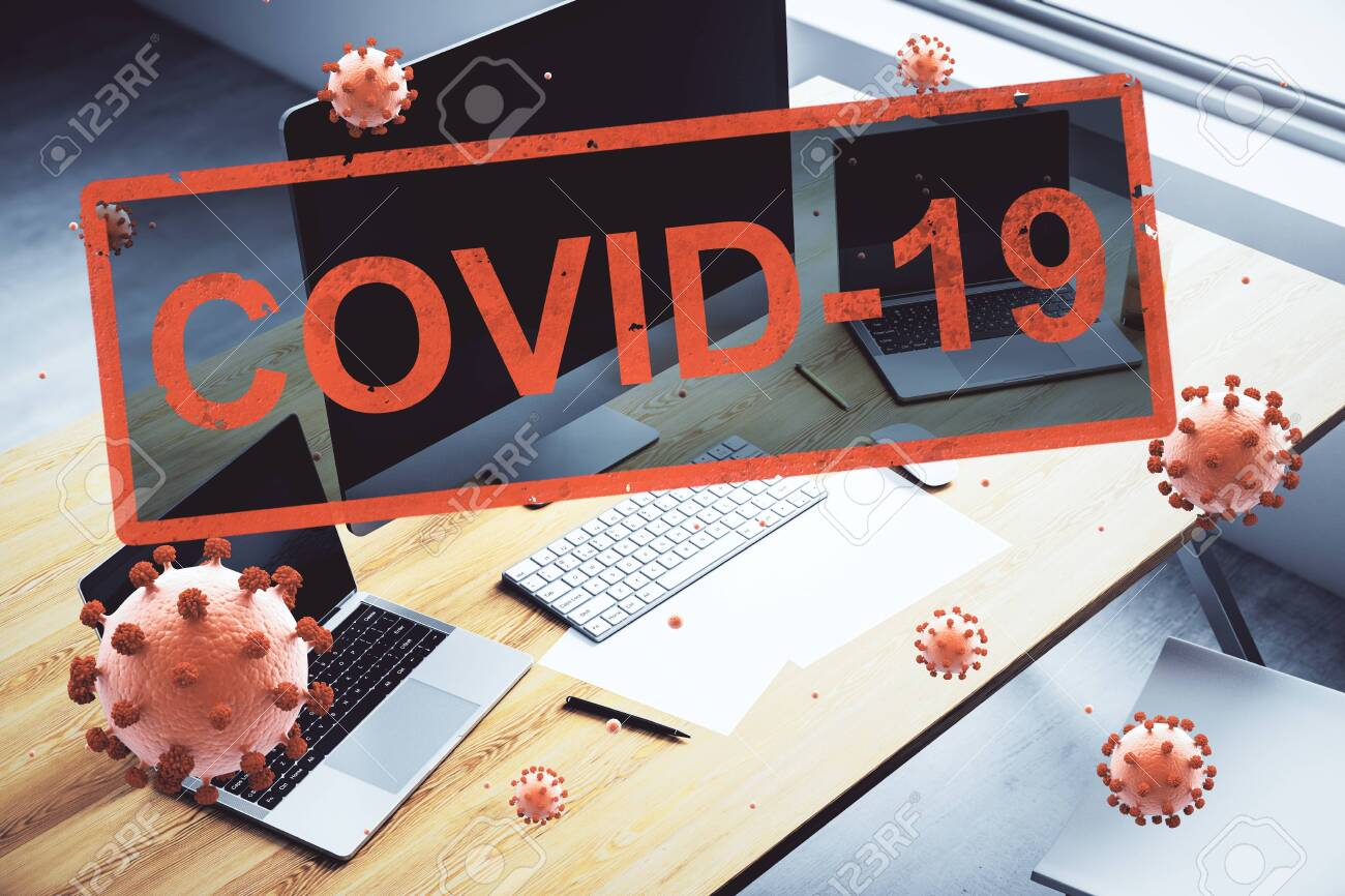 Concept empty corporate office closed for quarantine due to coronavirus, COVID-19 - 143954780
