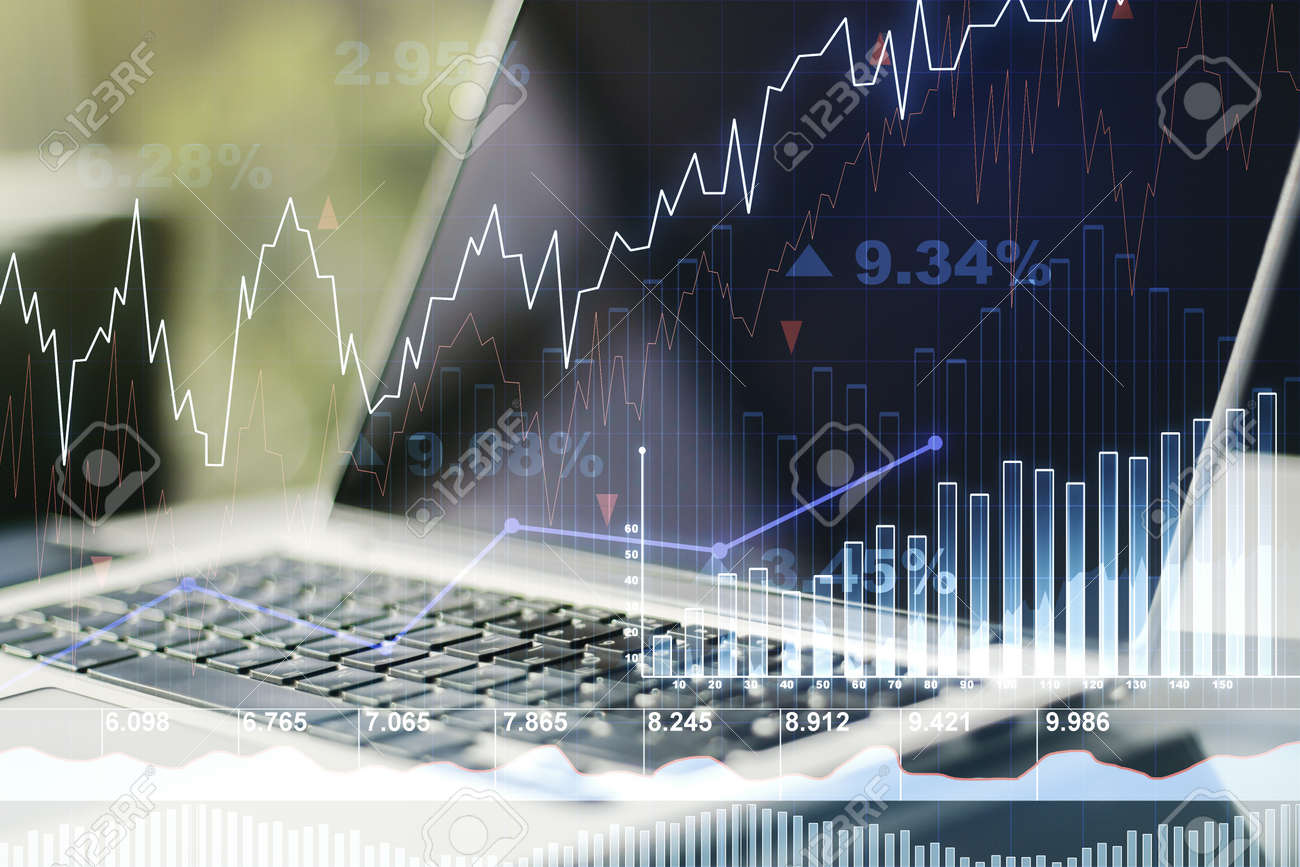 Abstract Creative Financial Graph On Modern Laptop Background ...