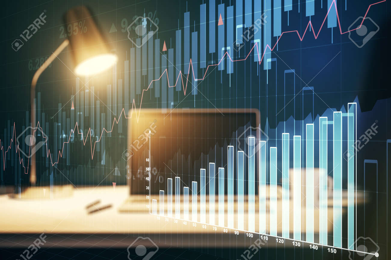Abstract creative financial graph on modern laptop background, financial and trading concept. Multiexposure - 169872162