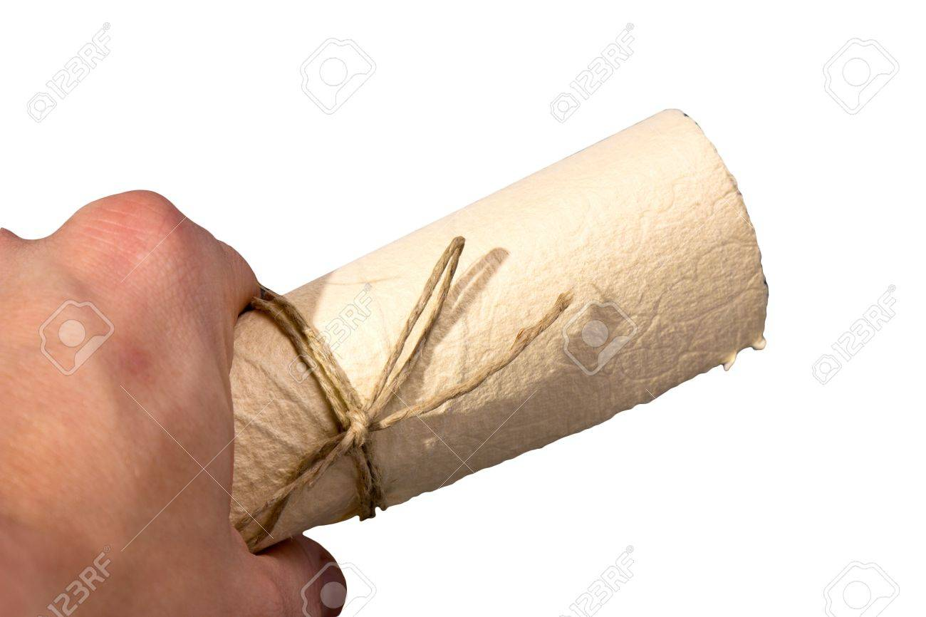 hand with paper scroll Stock Photo - 11512800