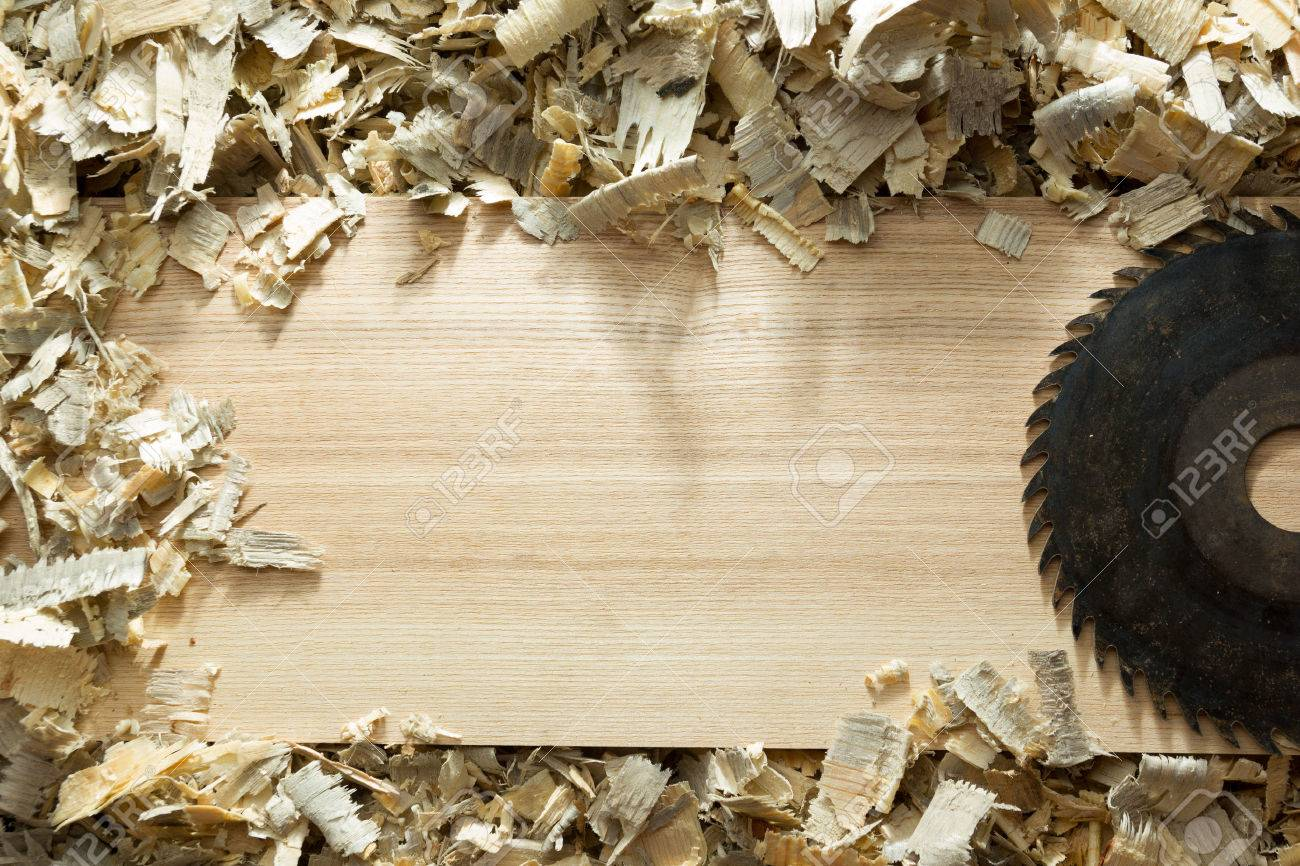 Carpenter tools on wooden table with sawdust. Carpenter workplace top view. - 50803114