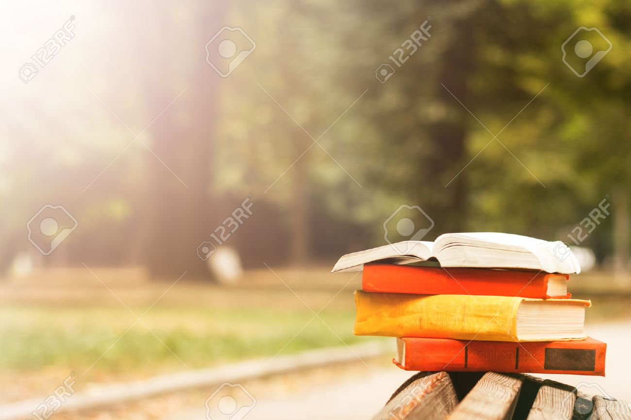 Stack of hardback books and Open book lying on bench at sunset park against blurred nature backdrop. Copy space, back to school. Education background - 50995493
