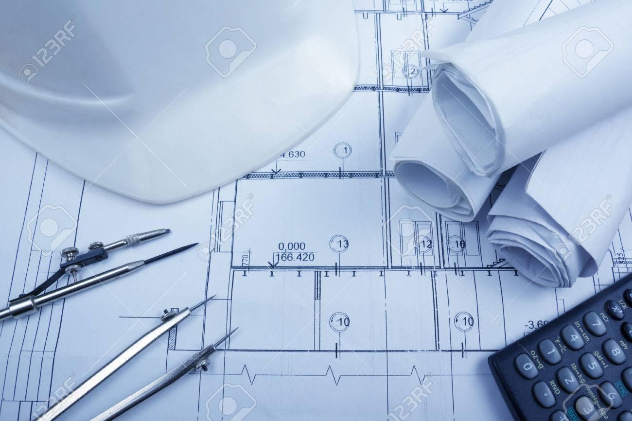 Architectural blueprints blueprint rolls compass divider architectural blueprints blueprint rolls compass divider calculator white safety on graph paper malvernweather Gallery