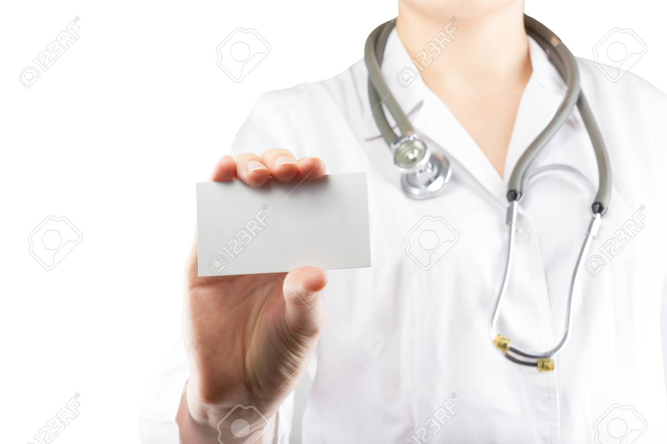 Female Doctor S Hand Holding Blank Business Card Isolated On