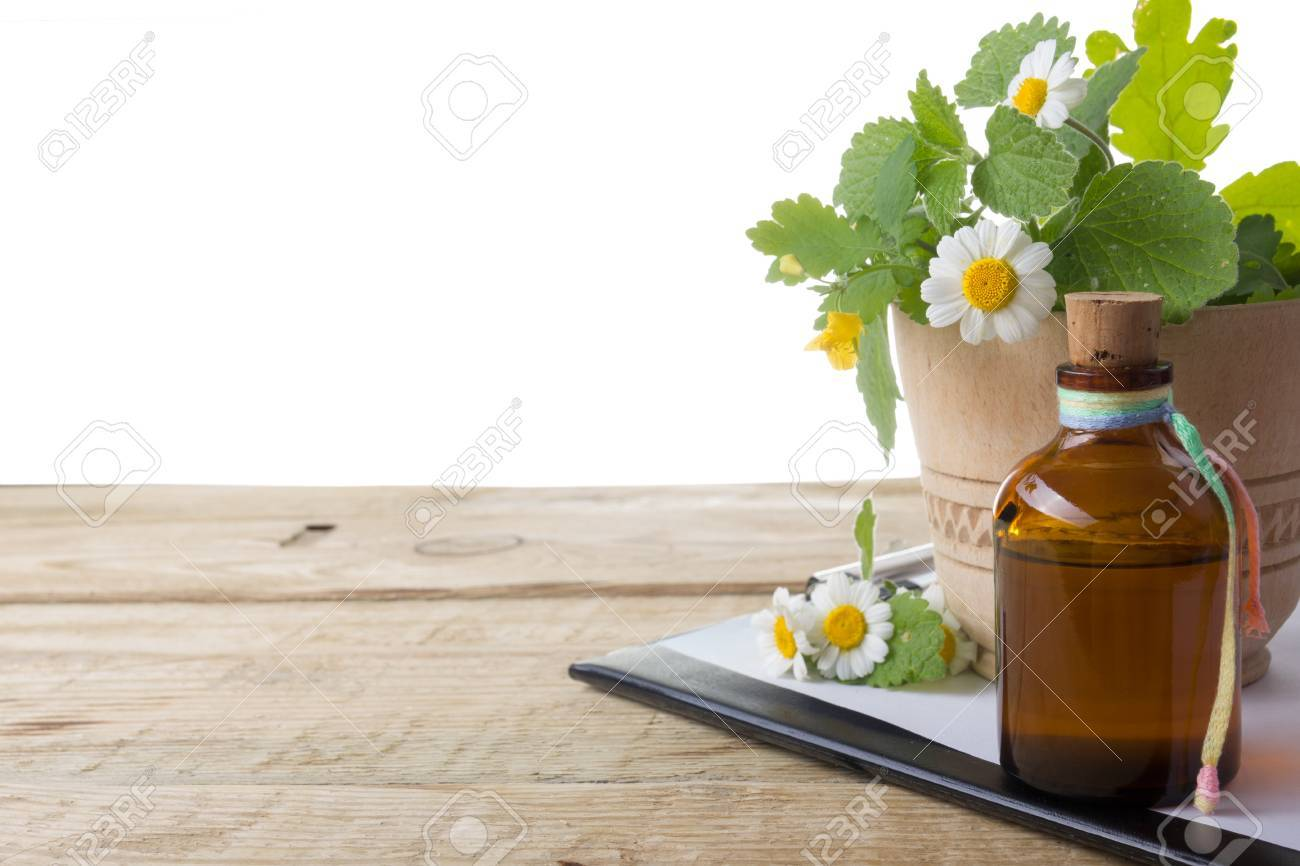 Fresh herb and medical clipboard on wooden table. Alternative medicine concept - 51838589