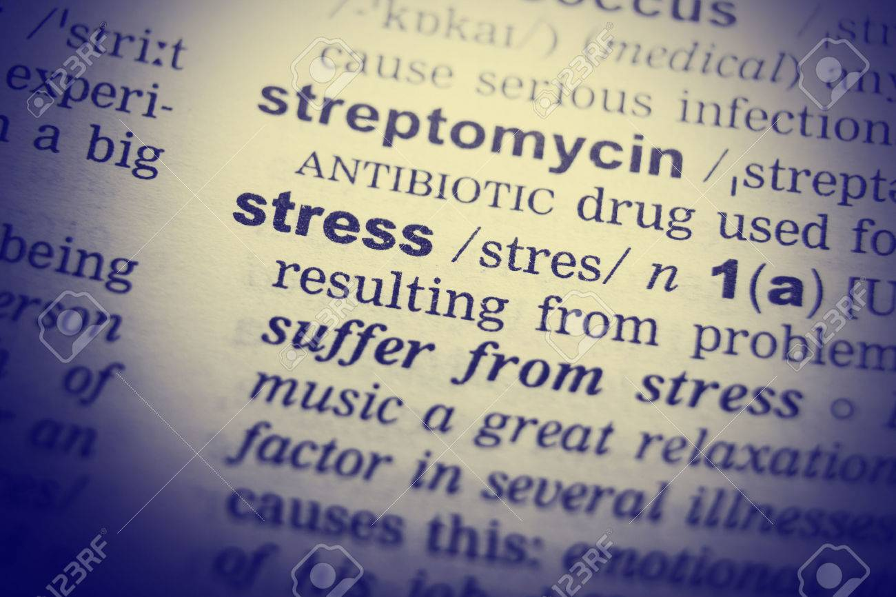 Dictionary definition of the word Stress. Toned Image - 53681065