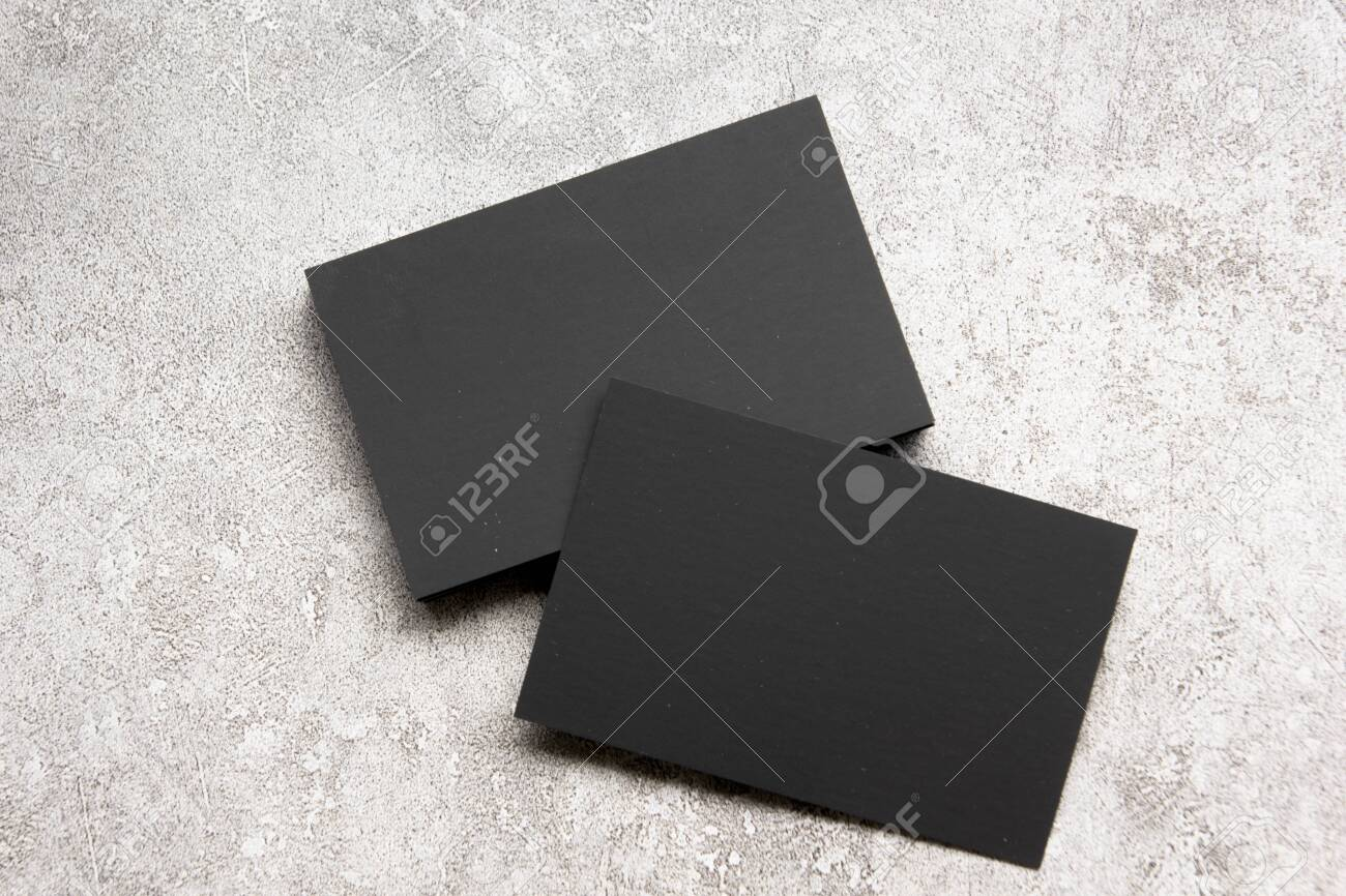 Black business cards blank on textured background. Identity design, corporate templates, company style. Flat lay - 156723641