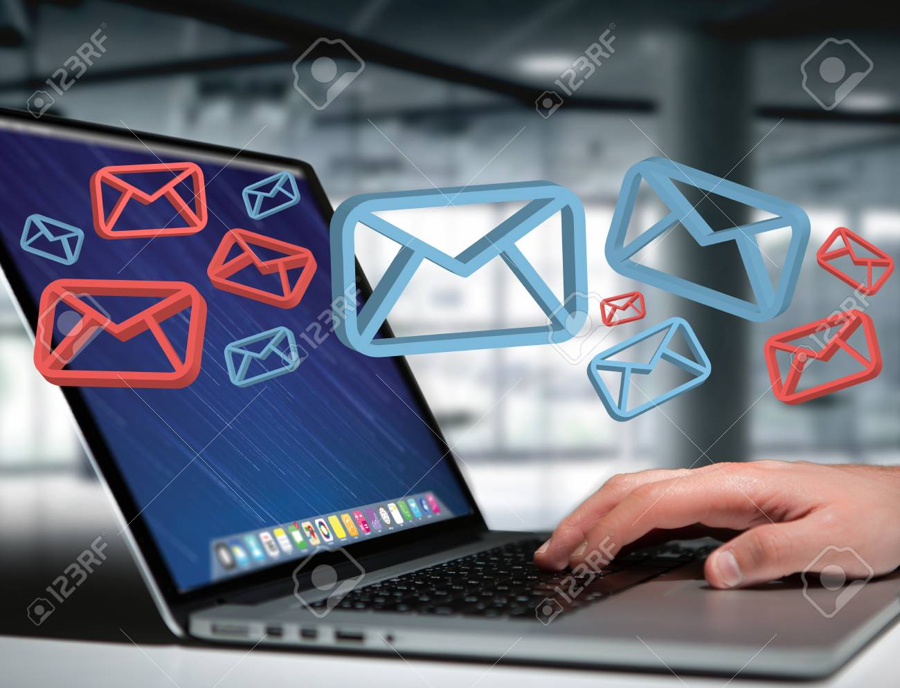 View of Approved email and spam message displayed on a futuristic interface - Message and internet concept - 85238849