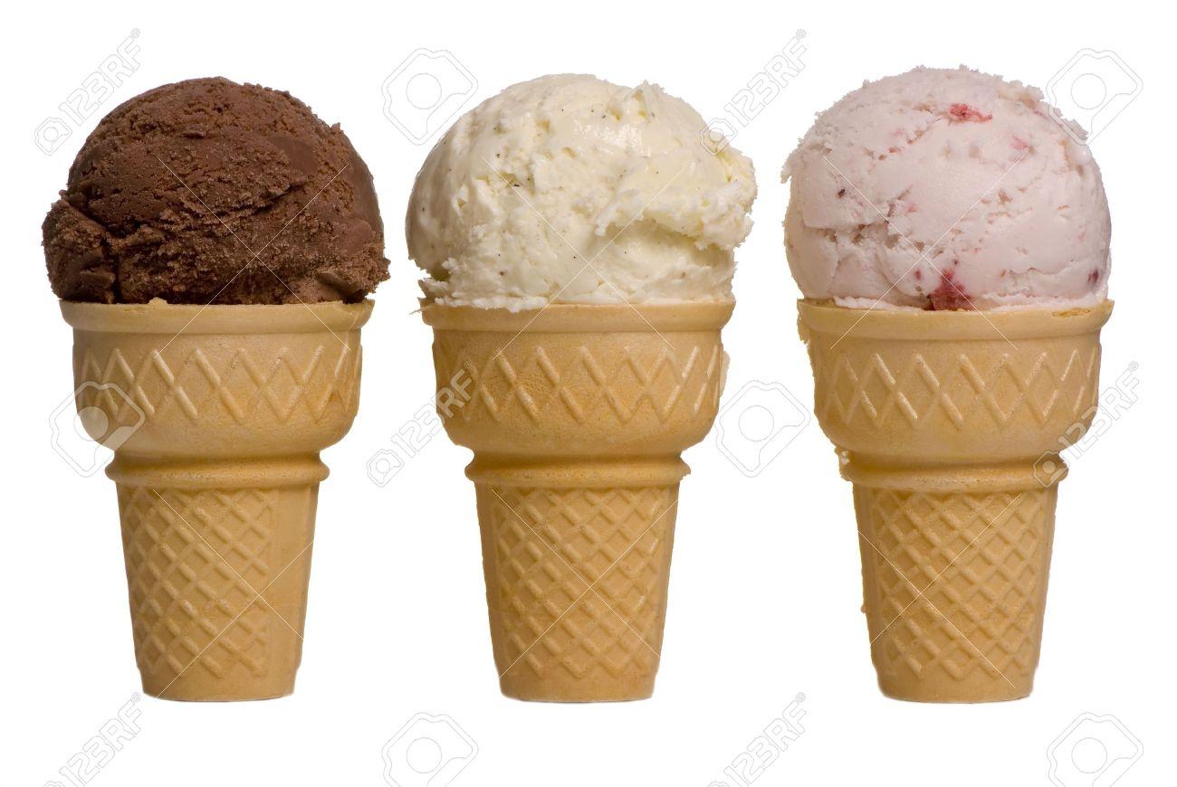 3 different flavors of ice cream cones chocolate vanilla