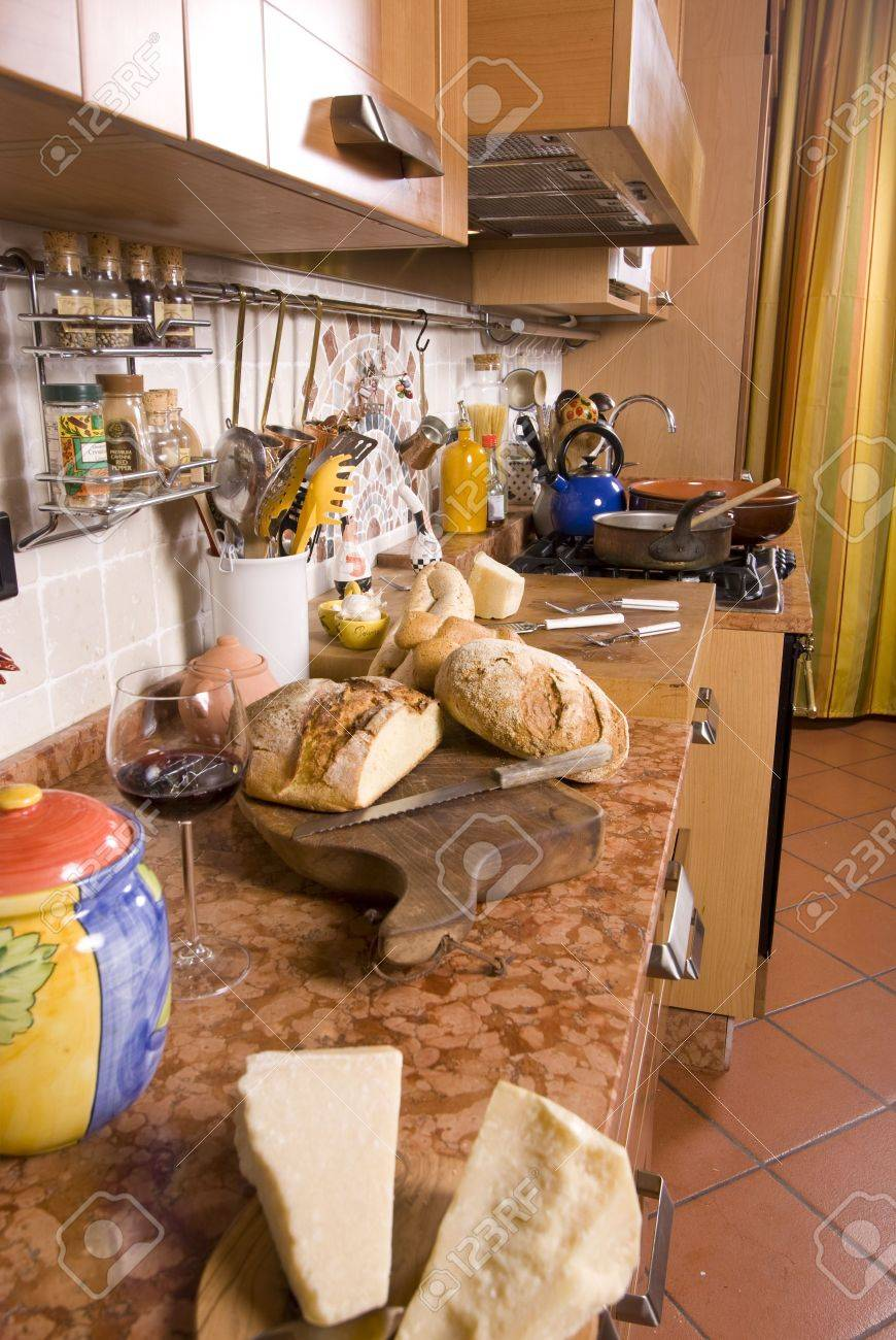 Rustic Italian Kitchens A Fancy Italian Kitchen With Rustic Tiles Stock Photo Picture And