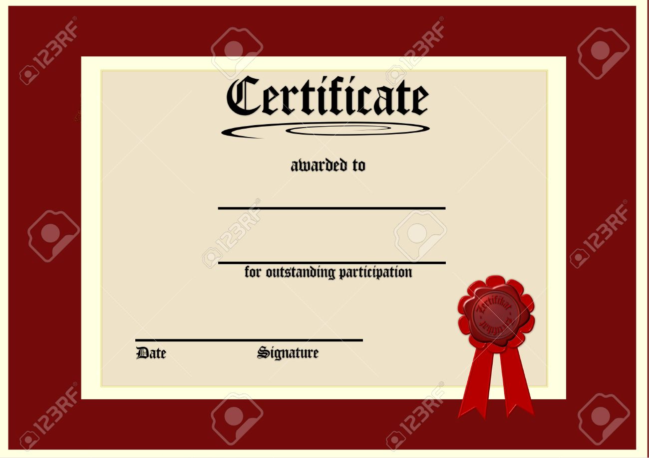 Certificate For Participation Photo Picture And Royalty – Printable Certificate of Participation