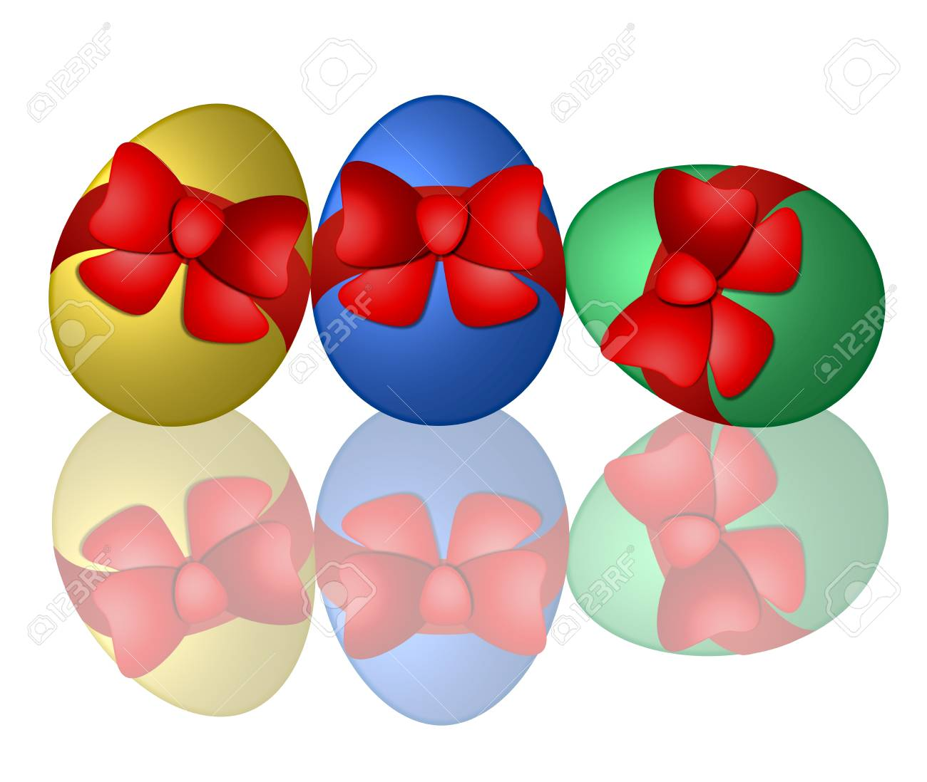 colorful easter eggs with reflection Stock Photo - 4532347