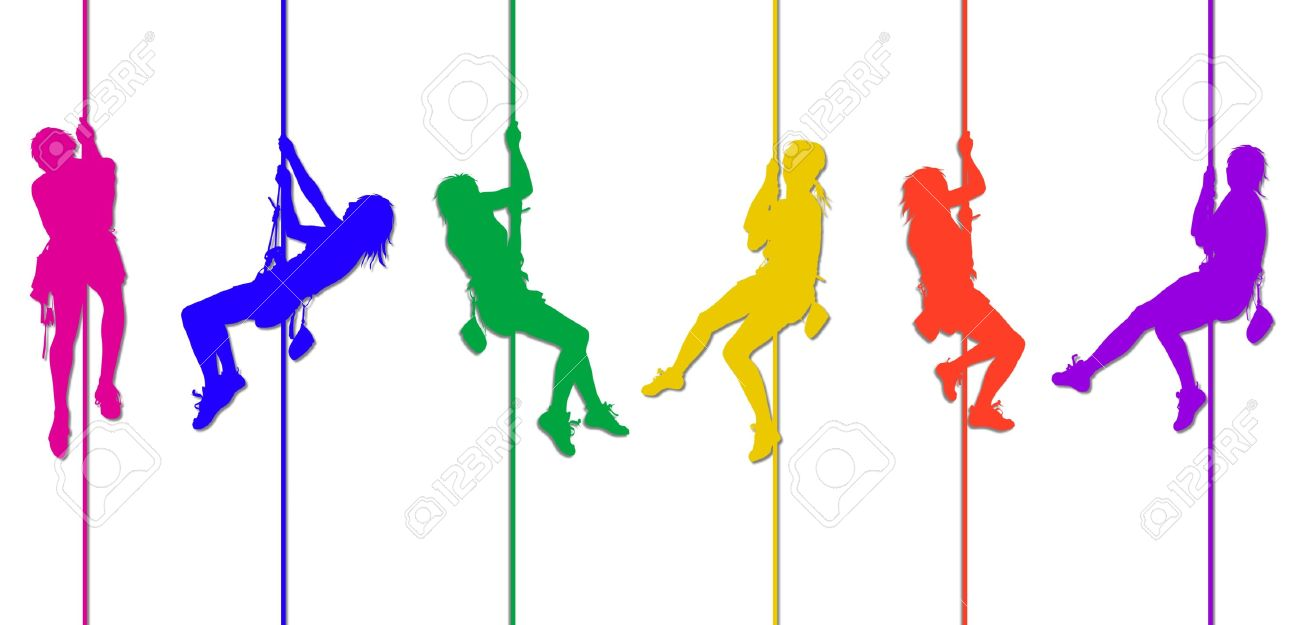 colorful climbing silhouettes 3 Stock Photo - 4545364