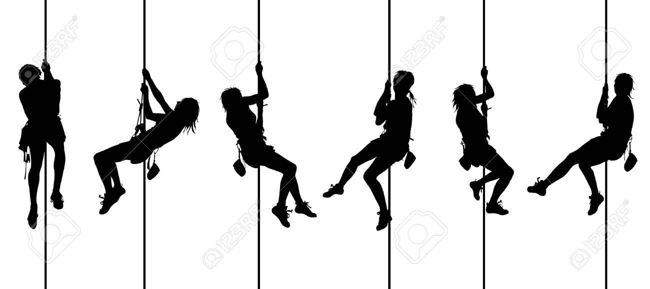 colorful climbing silhouettes 2 Stock Photo - 4545354